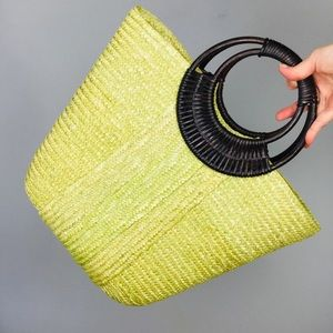 Straw and rattan lime green beach tote bag